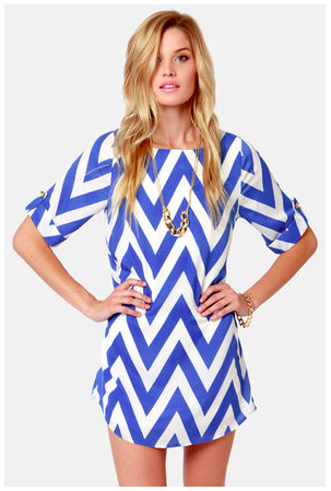 lulus can you zig it? blue chevron print dress